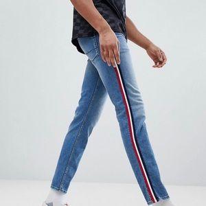 ASOS Jeans - ASOS Slim Mid Wash Blue Red White Stripe Jeans